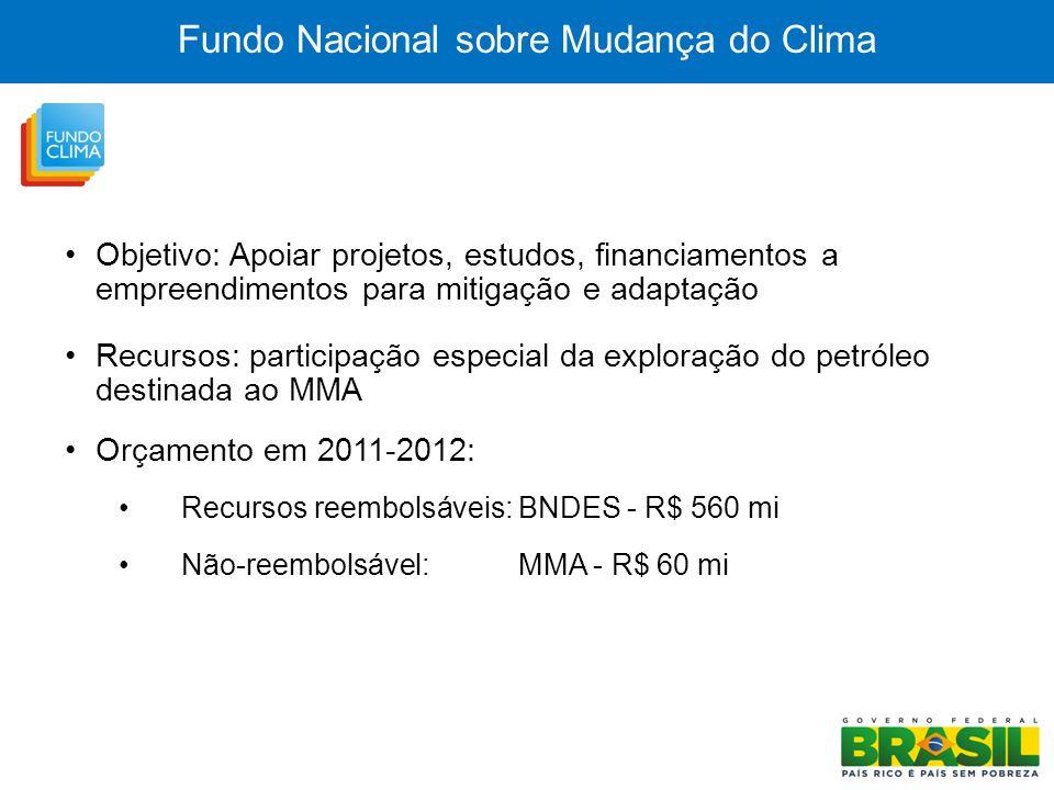 Fundo Nacional sobre Mudança do Clima Objetivo: Apoiar projetos, estudos, financiamentos a empreendimentos para mitigação e adaptação Recursos: partic