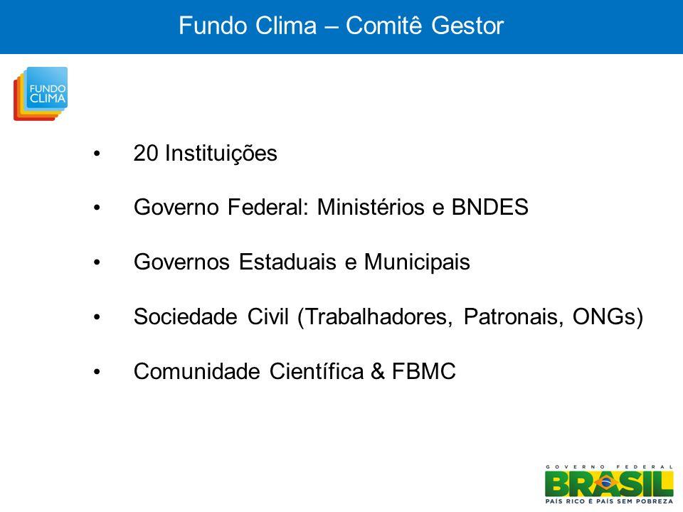 Fundo Clima – Comitê Gestor 20 Instituições Governo Federal: Ministérios e BNDES Governos Estaduais e Municipais Sociedade Civil (Trabalhadores, Patro