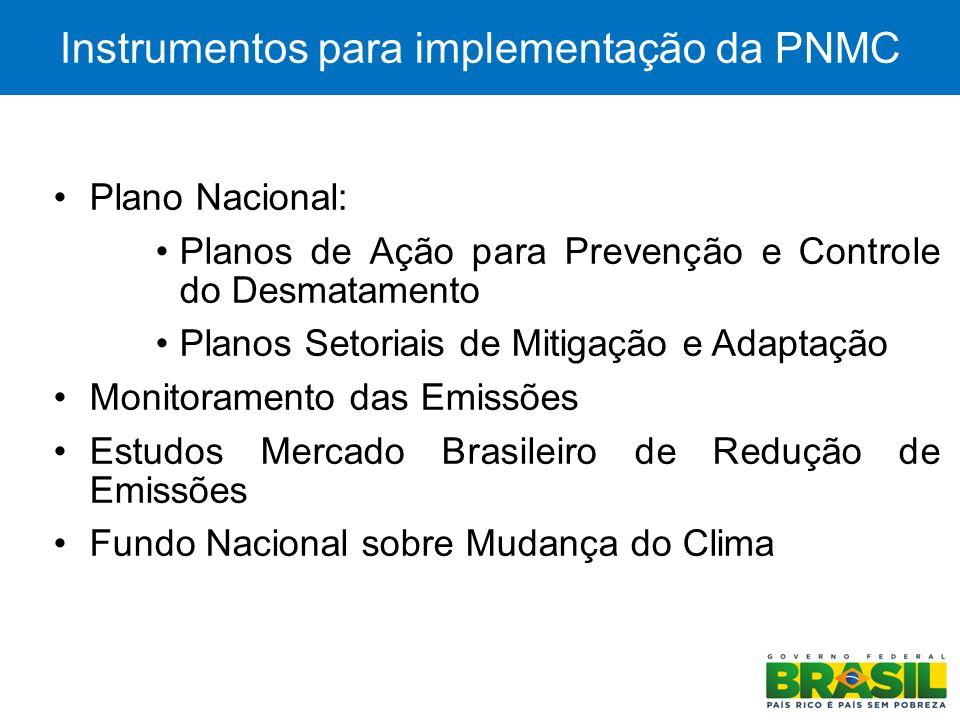 4 Instrumentos para implementação da PNMC Plano Nacional: Planos de Ação para Prevenção e Controle do Desmatamento Planos Setoriais de Mitigação e Ada