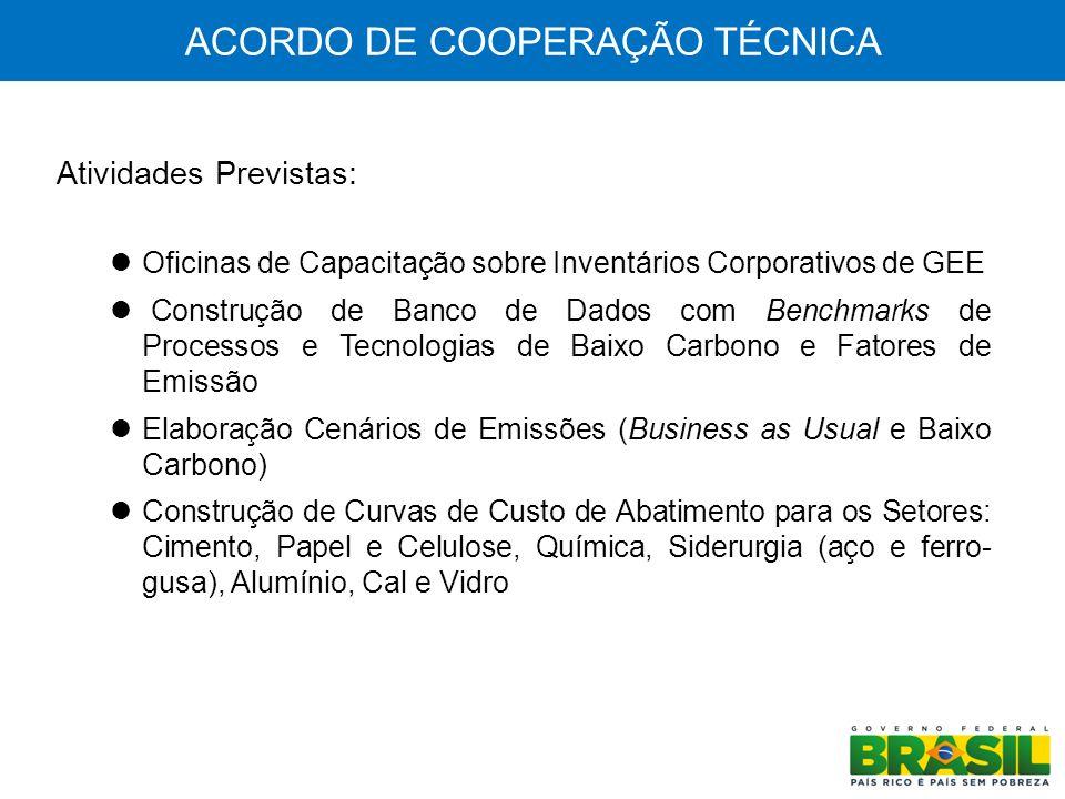 ACORDO DE COOPERAÇÃO TÉCNICA Elaboração de Estudos: Alternativas de Financiamento para Retrofit de Plantas Industriais, Troca de Equipamentos e Eficiência Energética Marcos Regulatórios para Reaproveitamento e Reciclagem de Resíduos Industriais Difusão de Tecnologias de Baixo Carbono na Indústria Avaliação da Politicas Públicas (Plano Brasil Maior, Fundo Clima e outras) para uma Economia de Baixo Carbono Realização de Seminários Apresentação das Conclusões dos Estudos