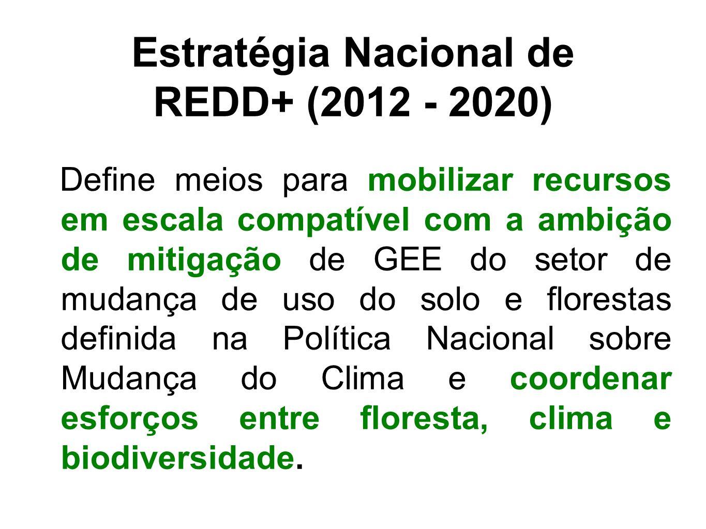 Estratégia Nacional de REDD+ (2012 - 2020) Define meios para mobilizar recursos em escala compatível com a ambição de mitigação de GEE do setor de mud