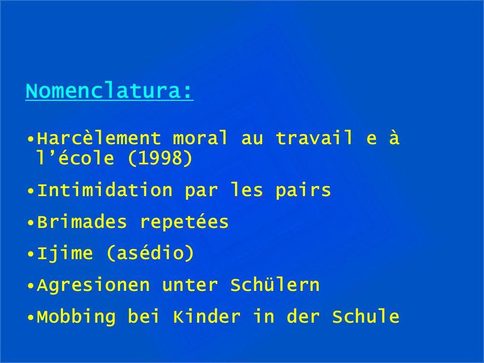 Nomenclatura: Harcèlement moral au travail e à lécole (1998) Intimidation par les pairs Brimades repetées Ijime (asédio) Agresionen unter Schülern Mob