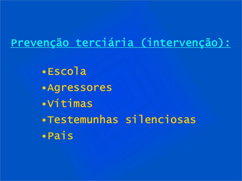 Prevenção terciária (intervenção): Escola Agressores Vítimas Testemunhas silenciosas Pais
