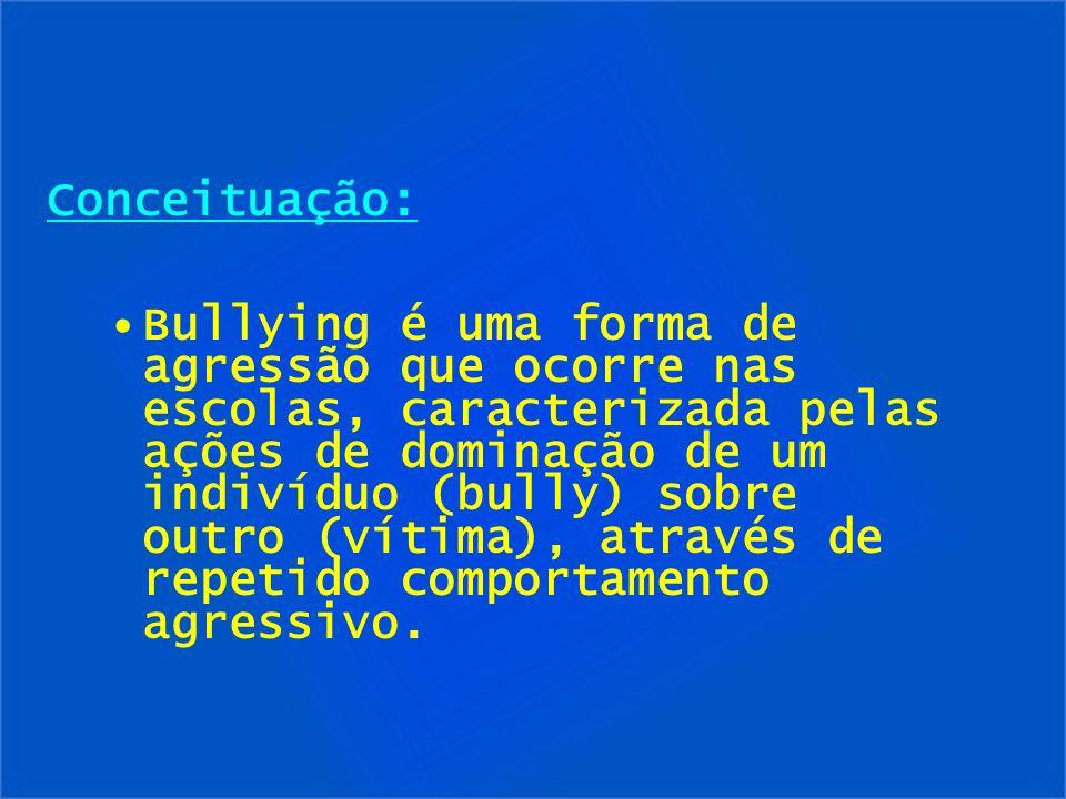 Conceituação: Bullying é uma forma de agressão que ocorre nas escolas, caracterizada pelas ações de dominação de um indivíduo (bully) sobre outro (vít