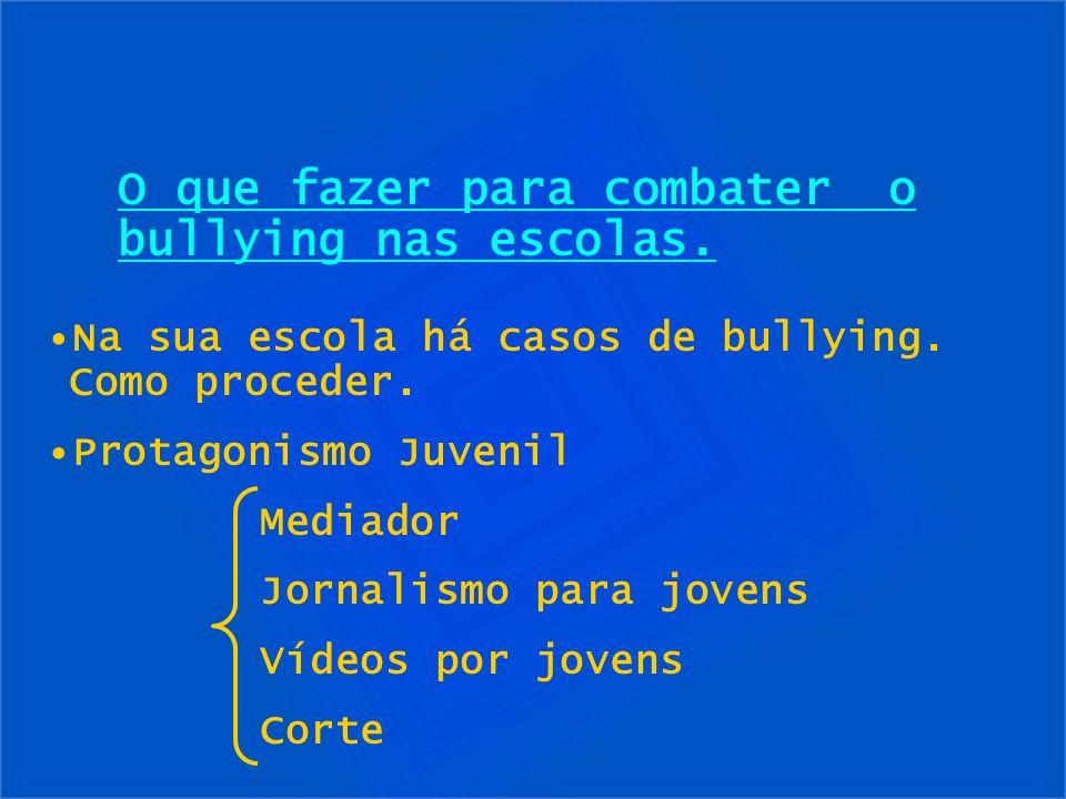 O que fazer para combater o bullying nas escolas. Na sua escola há casos de bullying. Como proceder. Protagonismo Juvenil Mediador Jornalismo para jov