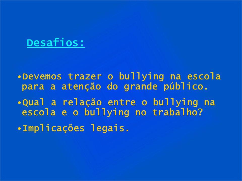 Desafios: Devemos trazer o bullying na escola para a atenção do grande público. Qual a relação entre o bullying na escola e o bullying no trabalho? Im