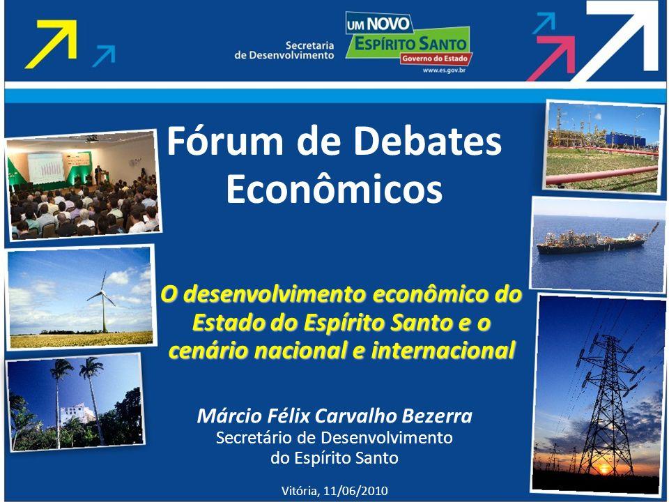 Márcio Félix Carvalho Bezerra Secretário de Desenvolvimento do Espírito Santo Vitória, 11/06/2010 Fórum de Debates Econômicos O desenvolvimento econôm