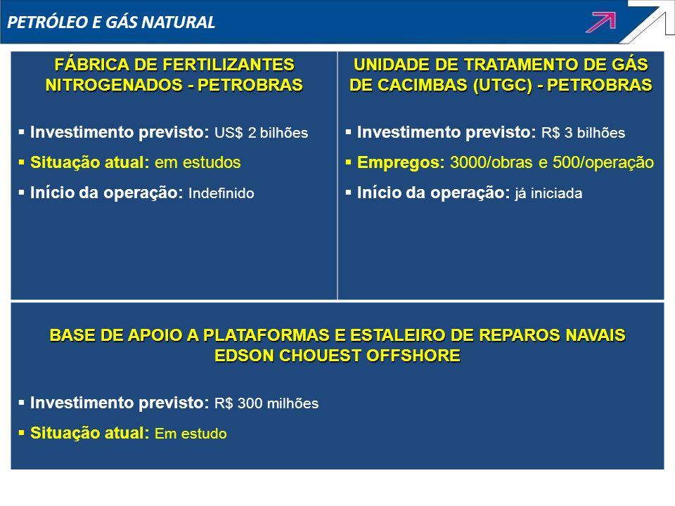 PETRÓLEO E GÁS NATURAL FÁBRICA DE FERTILIZANTES NITROGENADOS - PETROBRAS Investimento previsto: US$ 2 bilhões Situação atual: em estudos Início da ope