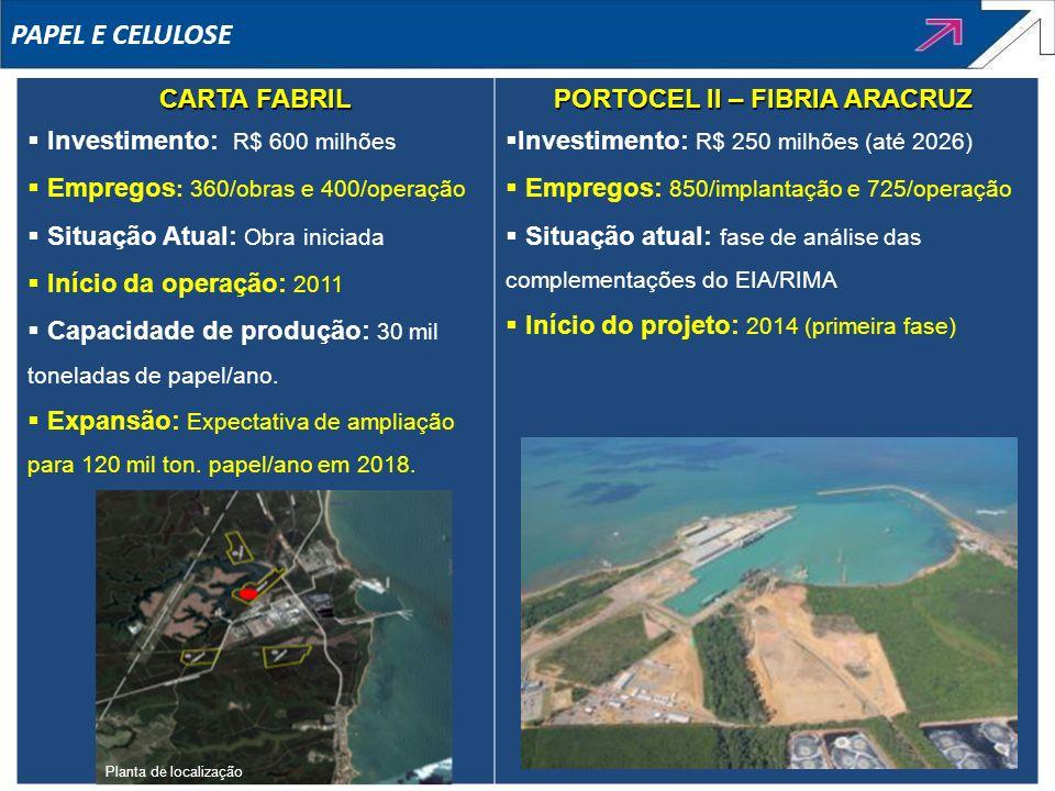 PAPEL E CELULOSE CARTA FABRIL Investimento: R$ 600 milhões Empregos : 360/obras e 400/operação Situação Atual: Obra iniciada Início da operação: 2011