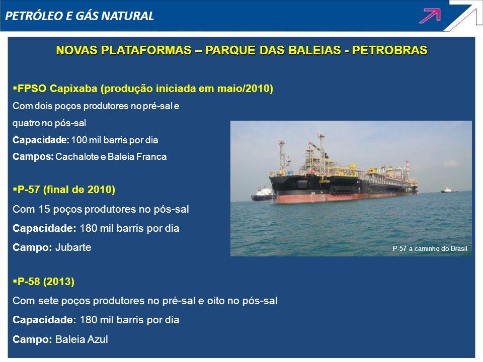 FPSO Capixaba (produção iniciada em maio/2010) Com dois poços produtores no pré-sal e quatro no pós-sal Capacidade: 100 mil barris por dia Campos: Cac