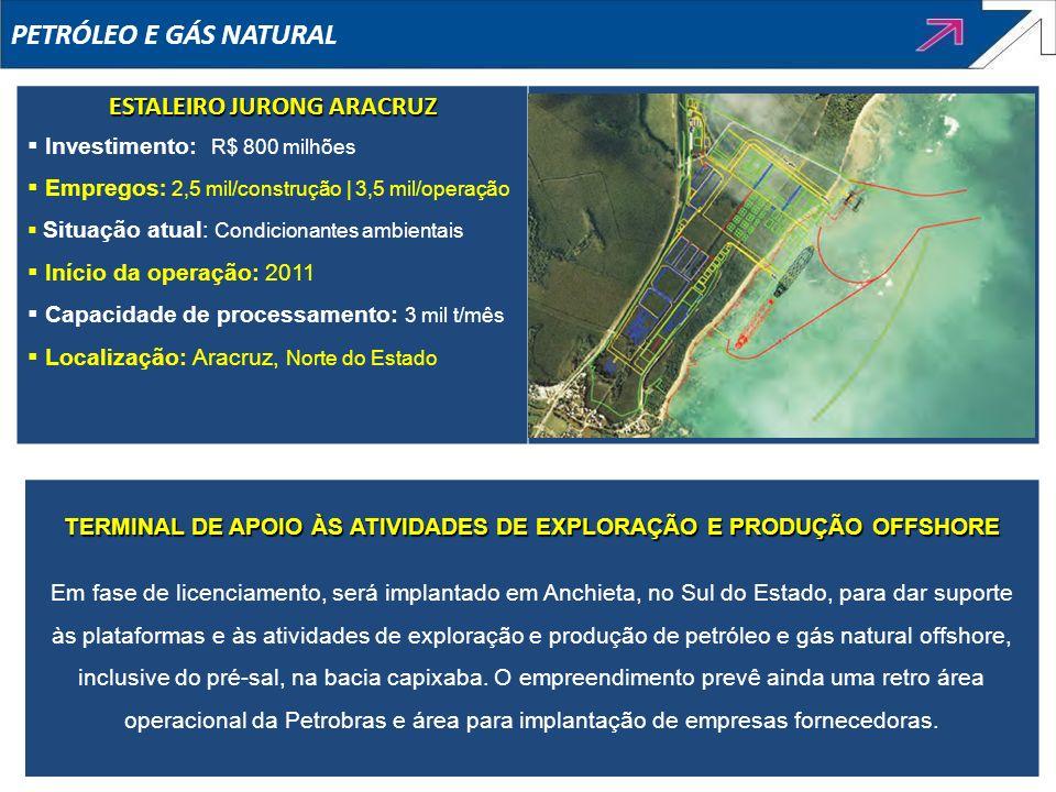 ESTALEIRO JURONG ARACRUZ Investimento: R$ 800 milhões Empregos : 2,5 mil/construção | 3,5 mil/operação Situação atual: Condicionantes ambientais Iníci