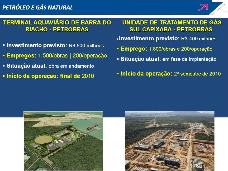 PETRÓLEO E GÁS NATURAL TERMINAL AQUAVIÁRIO DE BARRA DO RIACHO - PETROBRAS Investimento previsto: R$ 500 milhões Empregos: 1.500/obras | 200/operação S