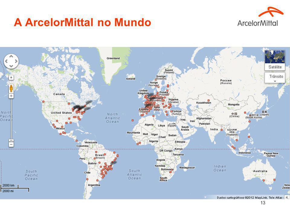12 90.6 milhões de toneladas de aços planos e longos. 6% da produção mundial de aço. Mais de 260 mil empregados em mais de 60 países. Presença industr