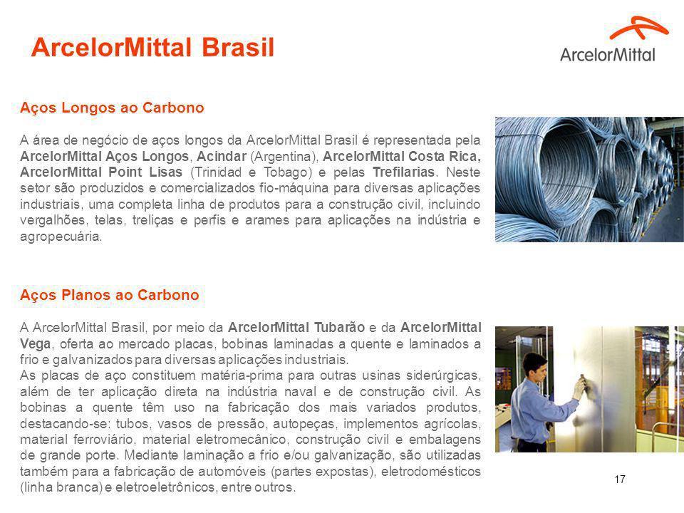 16 6,5 milhões de toneladas/ano 15.233 empregados (11.662 próprios + 3.571 contratados), sendo 11.037 empregados no Brasil (8.686 próprios + 2.351 contratados) Principais Unidades Industriais Aços Longos Aços Planos 7,5 milhões de toneladas/ano 9.558 empregados 4.921próprios (4.333 Tubarão/ 596 Vega) 4.637 contratados Tubarão e Vega