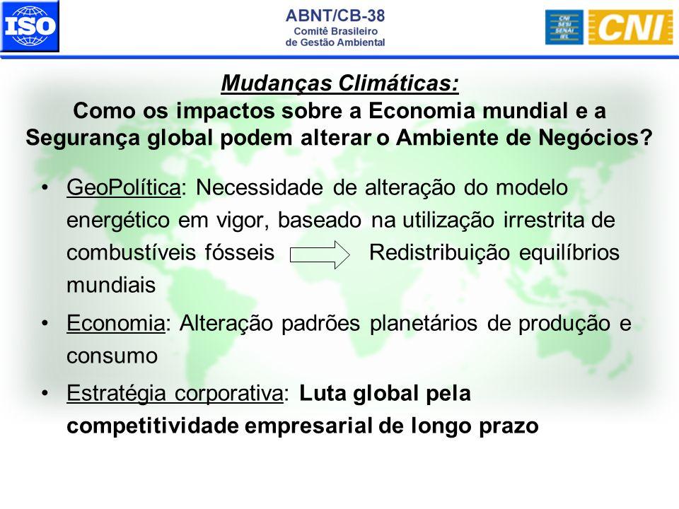 GeoPolítica: Necessidade de alteração do modelo energético em vigor, baseado na utilização irrestrita de combustíveis fósseis Redistribuição equilíbri