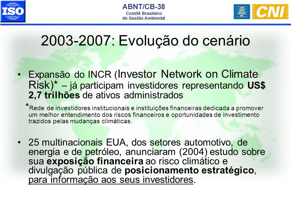 2003-2007: Evolução do cenário Expansão do INCR ( Investor Network on Climate Risk)* – já participam investidores representando US$ 2,7 trilhões de at
