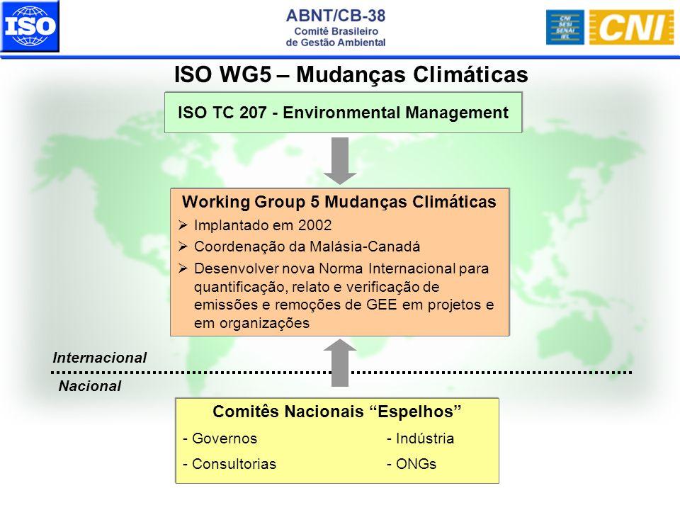 ISO TC 207 - Environmental Management Working Group 5 Mudanças Climáticas Implantado em 2002 Coordenação da Malásia-Canadá Desenvolver nova Norma Inte