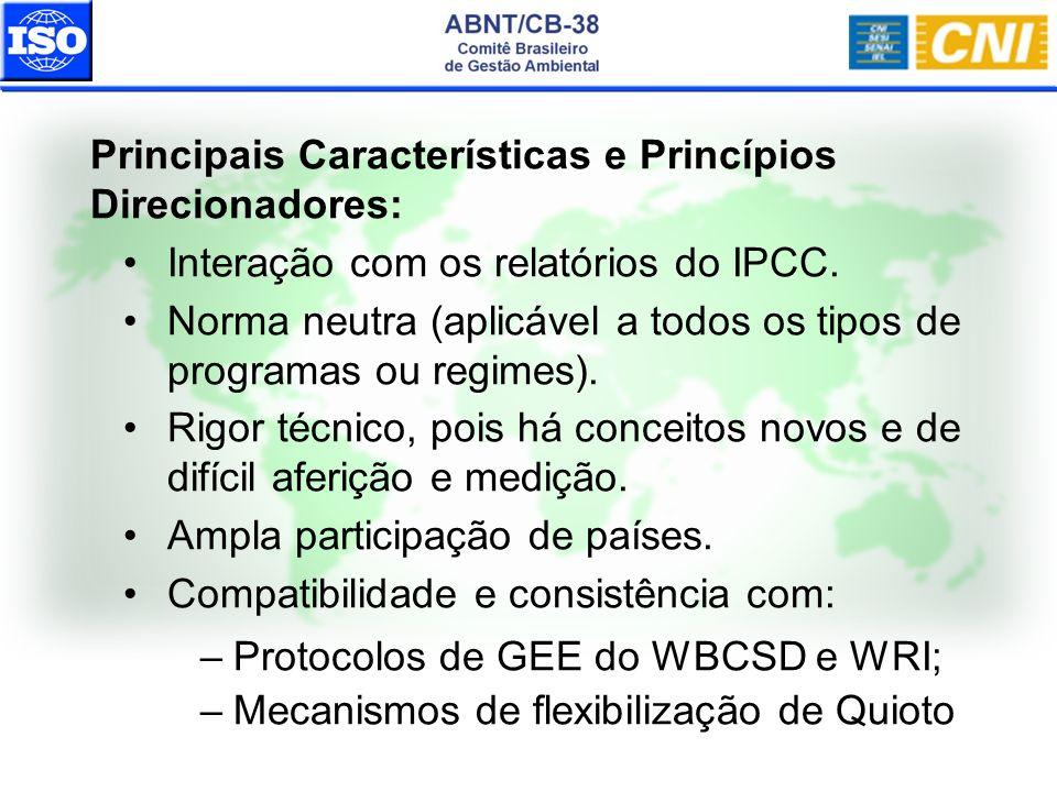 Principais Características e Princípios Direcionadores: Interação com os relatórios do IPCC. Norma neutra (aplicável a todos os tipos de programas ou