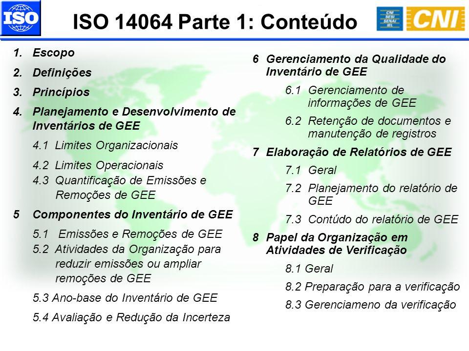 ISO 14064 Parte 1: Conteúdo 1.Escopo 2.Definições 3.Princípios 4.Planejamento e Desenvolvimento de Inventários de GEE 4.1Limites Organizacionais 4.2Li