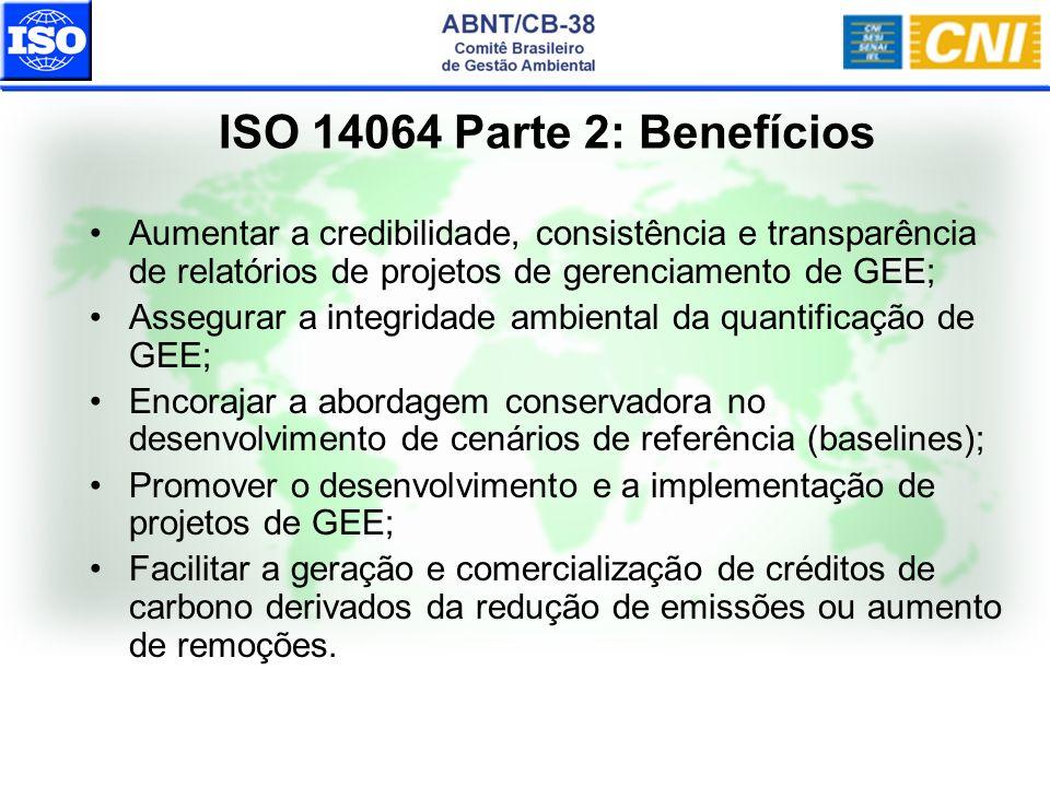 ISO 14064 Parte 2: Benefícios Aumentar a credibilidade, consistência e transparência de relatórios de projetos de gerenciamento de GEE; Assegurar a in