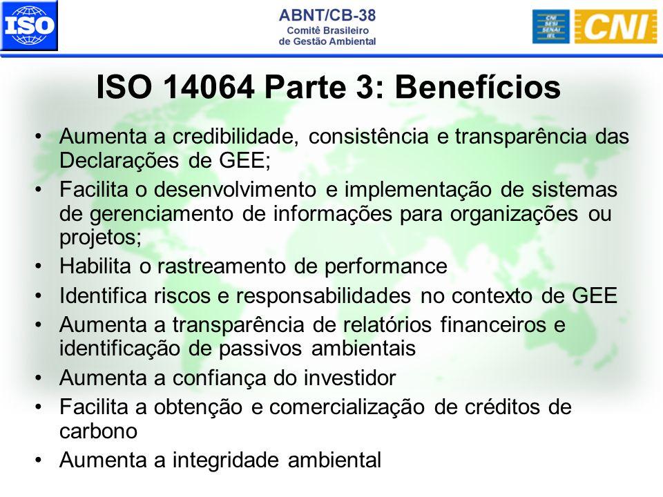 ISO 14064 Parte 3: Benefícios Aumenta a credibilidade, consistência e transparência das Declarações de GEE; Facilita o desenvolvimento e implementação