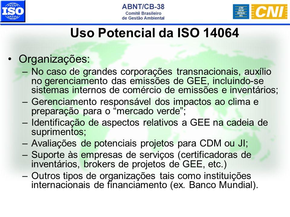 Uso Potencial da ISO 14064 Organizações: –No caso de grandes corporações transnacionais, auxílio no gerenciamento das emissões de GEE, incluindo-se si