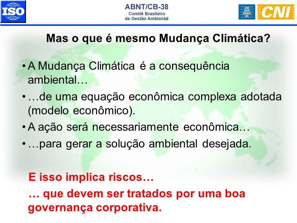 Mas o que é mesmo Mudança Climática? A Mudança Climática é a consequência ambiental… …de uma equação econômica complexa adotada (modelo econômico). A
