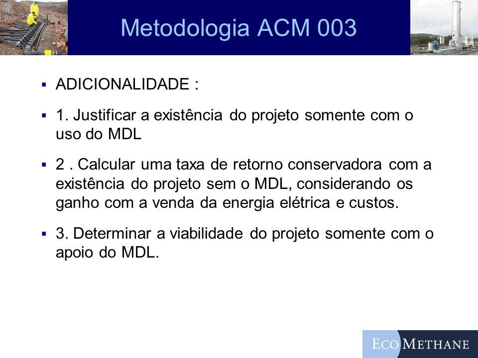 Metodologia ACM 003 ADICIONALIDADE : 1. Justificar a existência do projeto somente com o uso do MDL 2. Calcular uma taxa de retorno conservadora com a