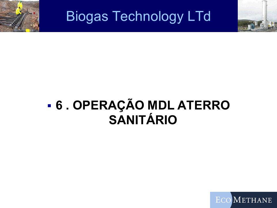 Biogas Technology LTd 6. OPERAÇÃO MDL ATERRO SANITÁRIO