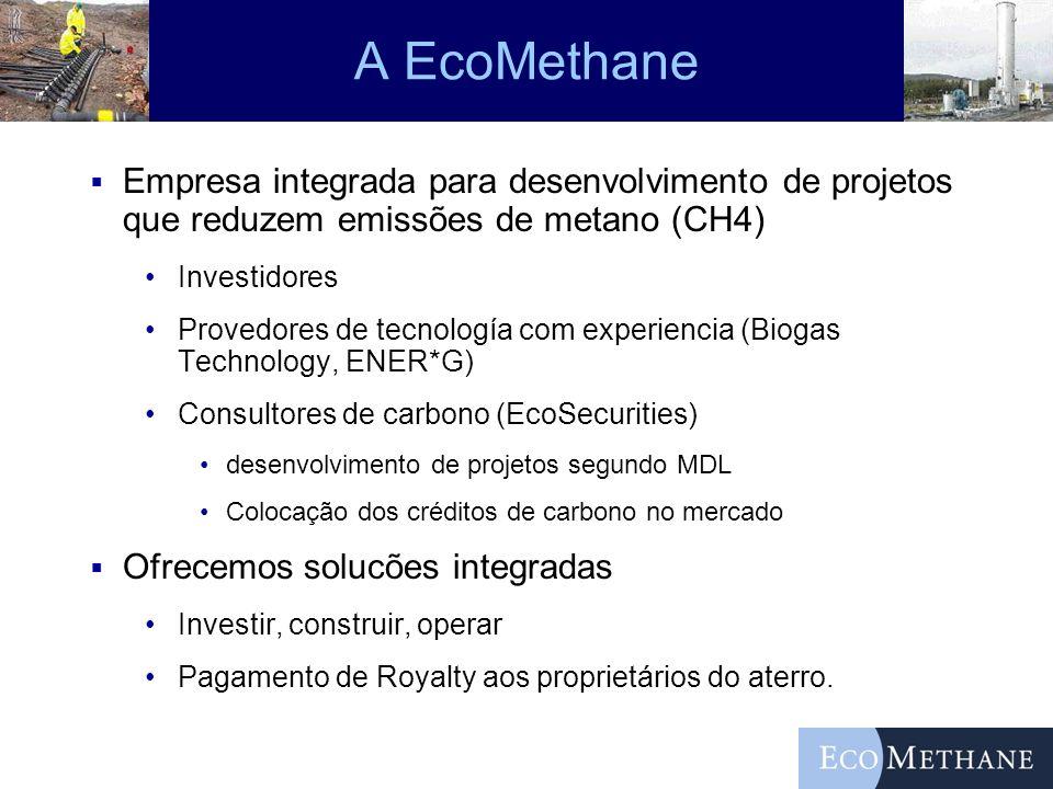 A EcoMethane Empresa integrada para desenvolvimento de projetos que reduzem emissões de metano (CH4) Investidores Provedores de tecnología com experie