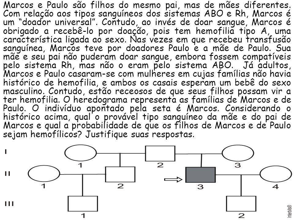 Marcos e Paulo são filhos do mesmo pai, mas de mães diferentes. Com relação aos tipos sanguíneos dos sistemas ABO e Rh, Marcos é um doador universal.