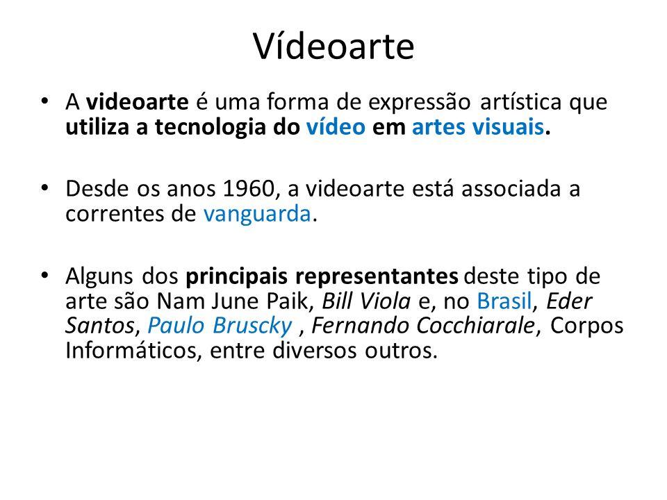 Vídeoarte A videoarte é uma forma de expressão artística que utiliza a tecnologia do vídeo em artes visuais. Desde os anos 1960, a videoarte está asso
