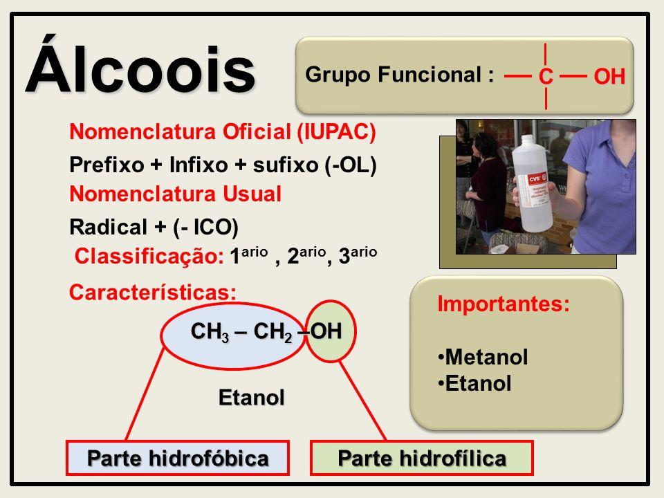 Álcoois Grupo Funcional : Nomenclatura Oficial (IUPAC) Prefixo + Infixo + sufixo (-OL) Características: OHC Nomenclatura Usual Radical + (- ICO) Parte hidrofóbica Etanol Parte hidrofílica CH 3 – CH 2 –OH Importantes: Metanol Etanol Classificação: 1 ario, 2 ario, 3 ario