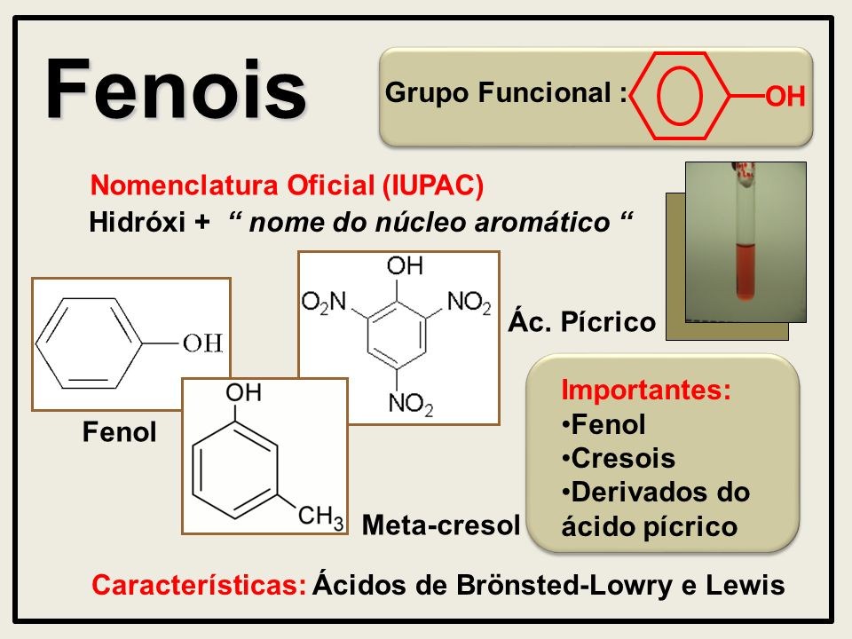 Fenois Grupo Funcional : OH Nomenclatura Oficial (IUPAC) Hidróxi + nome do núcleo aromático Características: Ácidos de Brönsted-Lowry e Lewis Importantes: Fenol Cresois Derivados do ácido pícrico Fenol Meta-cresol Ác.