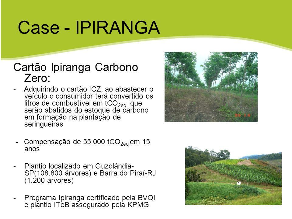Case - IPIRANGA Cartão Ipiranga Carbono Zero: - Adquirindo o cartão ICZ, ao abastecer o veículo o consumidor terá convertido os litros de combustível