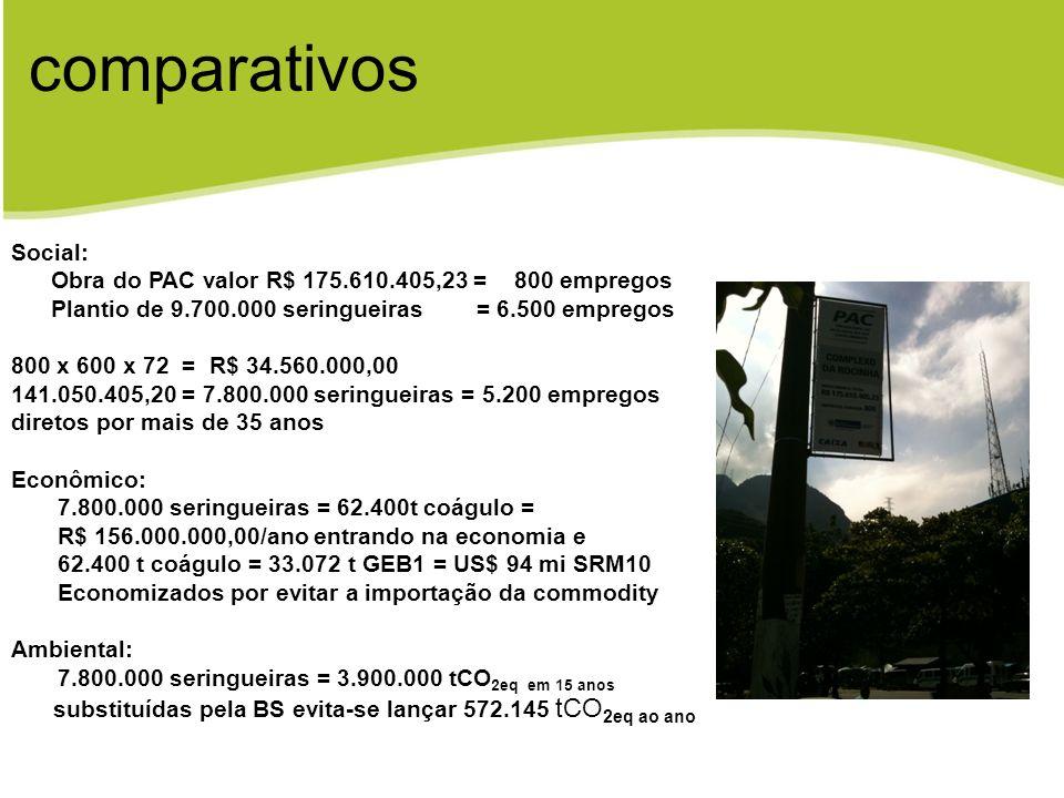 Social: Obra do PAC valor R$ 175.610.405,23 = 800 empregos Plantio de 9.700.000 seringueiras = 6.500 empregos 800 x 600 x 72 = R$ 34.560.000,00 141.05