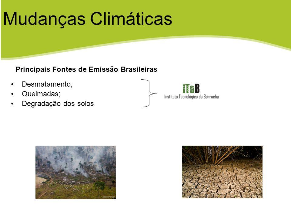 Desmatamento; Queimadas; Degradação dos solos Principais Fontes de Emissão Brasileiras Mudanças Climáticas