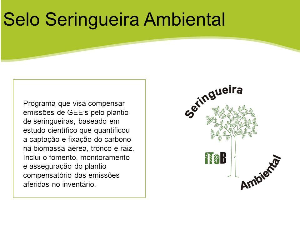 Selo Seringueira Ambiental Programa que visa compensar emissões de GEEs pelo plantio de seringueiras, baseado em estudo científico que quantificou a c