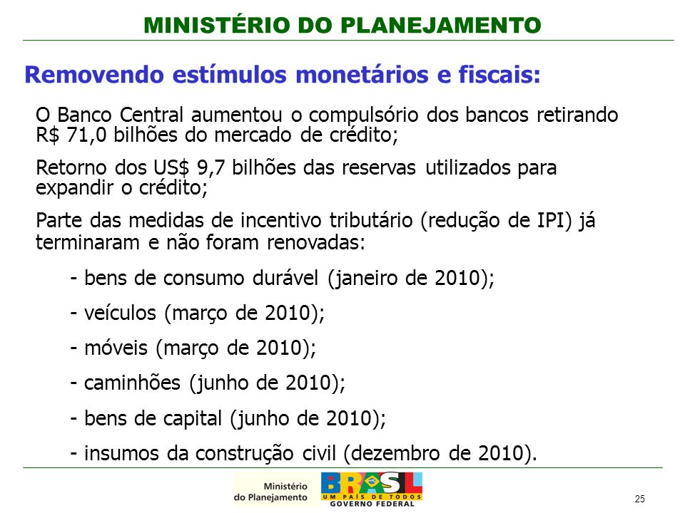 MINISTÉRIO DO PLANEJAMENTO Removendo estímulos monetários e fiscais: O Banco Central aumentou o compulsório dos bancos retirando R$ 71,0 bilhões do me
