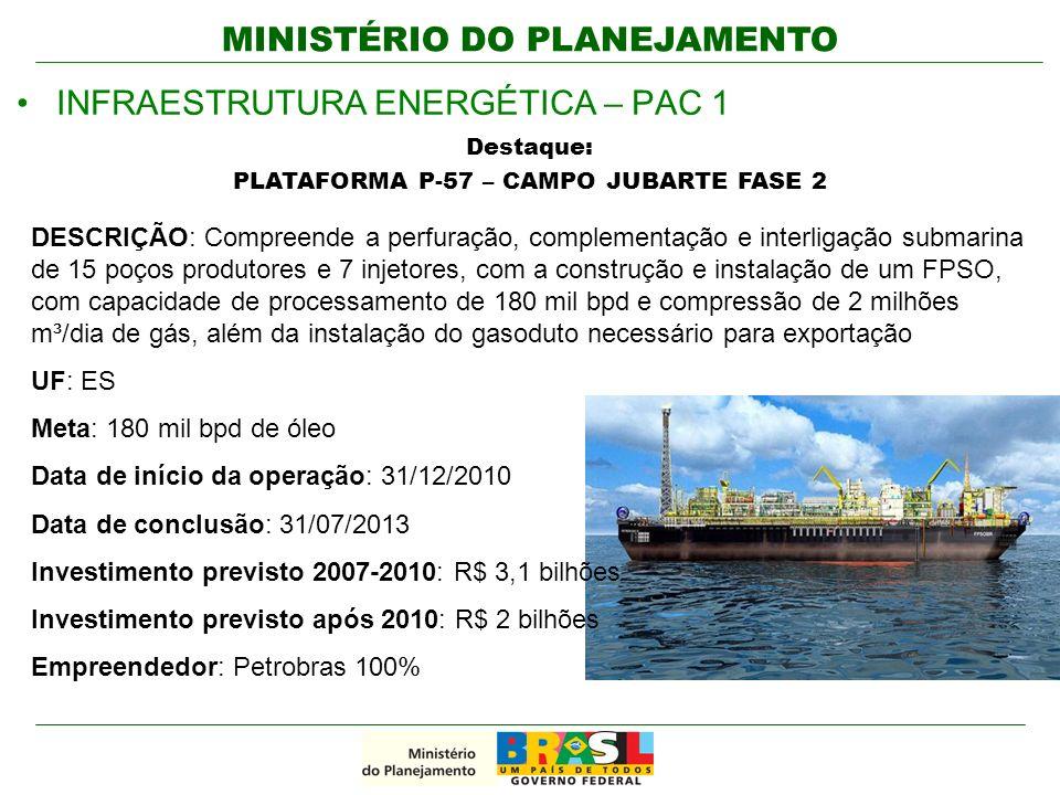 MINISTÉRIO DO PLANEJAMENTO INFRAESTRUTURA ENERGÉTICA – PAC 1 Destaque: PLATAFORMA P-57 – CAMPO JUBARTE FASE 2 DESCRIÇÃO: Compreende a perfuração, comp