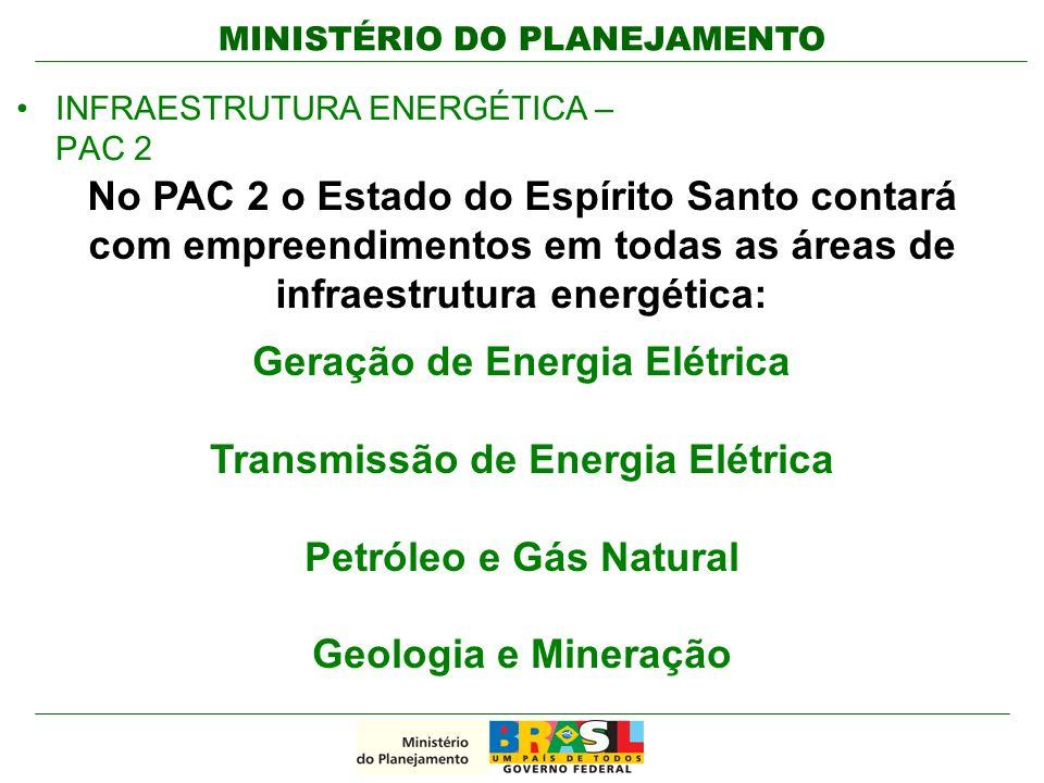 MINISTÉRIO DO PLANEJAMENTO INFRAESTRUTURA ENERGÉTICA – PAC 2 Geração de Energia Elétrica Transmissão de Energia Elétrica Petróleo e Gás Natural Geolog