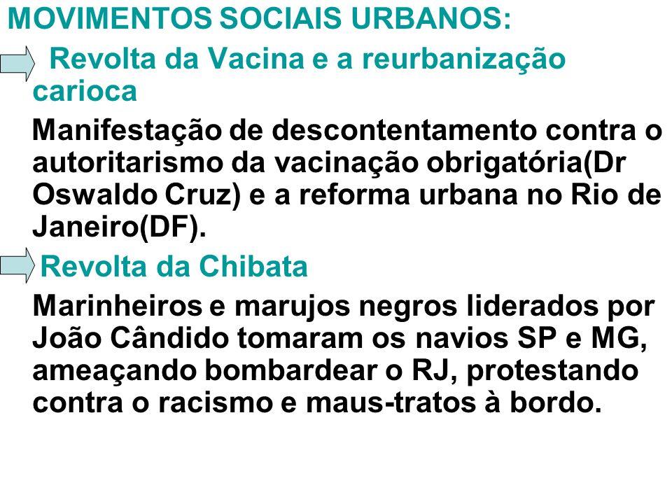 MOVIMENTOS SOCIAIS URBANOS: Revolta da Vacina e a reurbanização carioca Manifestação de descontentamento contra o autoritarismo da vacinação obrigatór