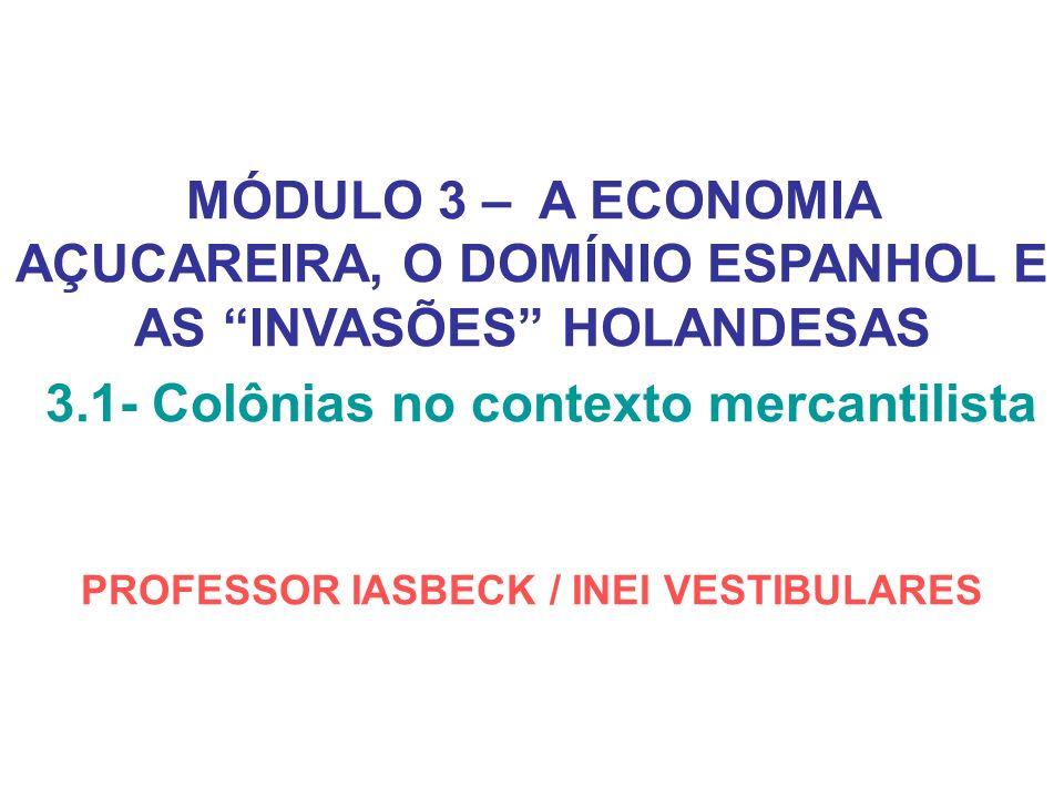 MÓDULO 3 – A ECONOMIA AÇUCAREIRA, O DOMÍNIO ESPANHOL E AS INVASÕES HOLANDESAS 3.1- Colônias no contexto mercantilista PROFESSOR IASBECK / INEI VESTIBU