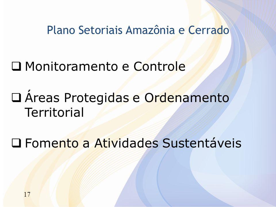 17 Plano Setoriais Amazônia e Cerrado Monitoramento e Controle Áreas Protegidas e Ordenamento Territorial Fomento a Atividades Sustentáveis