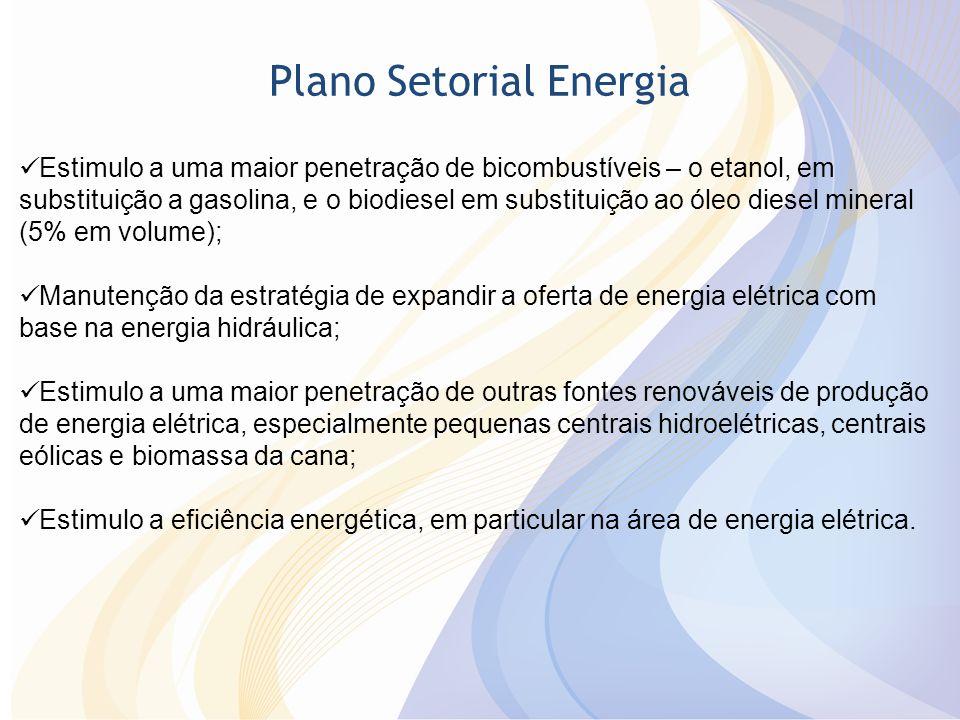 Plano Setorial Energia Estimulo a uma maior penetração de bicombustíveis – o etanol, em substituição a gasolina, e o biodiesel em substituição ao óleo