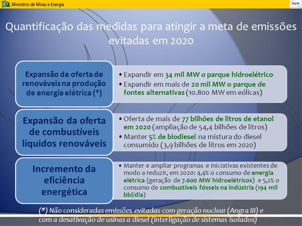 Expandir em 34 mil MW o parque hidroelétrico Expandir em mais de 20 mil MW o parque de fontes alternativas (10.800 MW em eólicas) Expansão da oferta d
