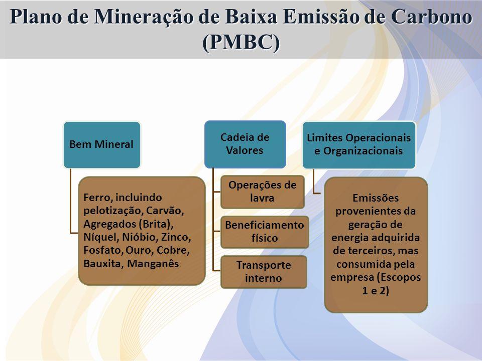 Bem Mineral Ferro, incluindo pelotização, Carvão, Agregados (Brita), Níquel, Nióbio, Zinco, Fosfato, Ouro, Cobre, Bauxita, Manganês Cadeia de Valores