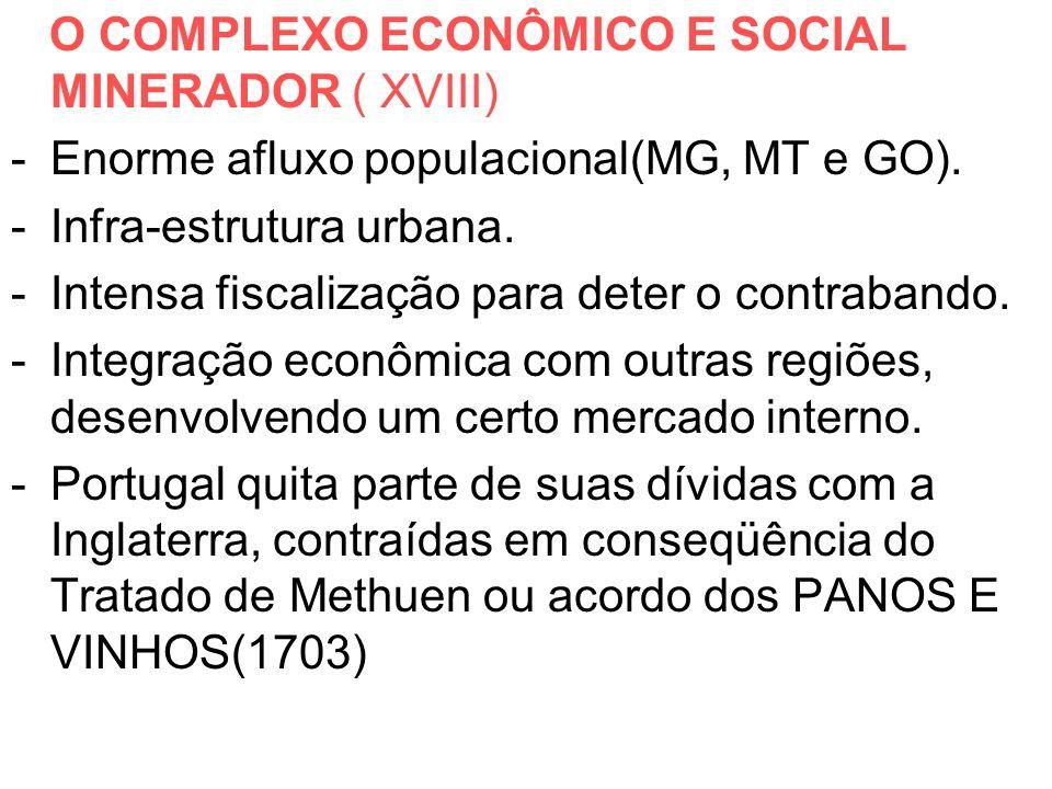 O COMPLEXO ECONÔMICO E SOCIAL MINERADOR ( XVIII) -Enorme afluxo populacional(MG, MT e GO). -Infra-estrutura urbana. -Intensa fiscalização para deter o