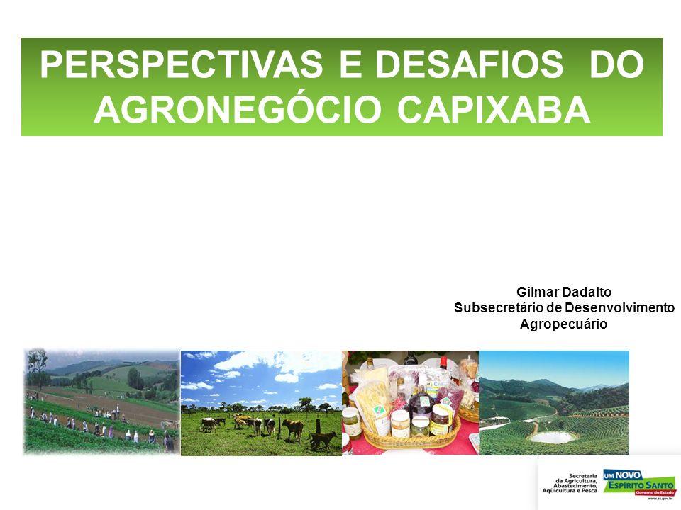 PERSPECTIVAS E DESAFIOS DO AGRONEGÓCIO CAPIXABA Gilmar Dadalto Subsecretário de Desenvolvimento Agropecuário OPORTUNIDADES E DESAFIOS OPORTUNI DADGGES