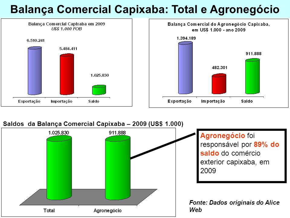 Balança Comercial Capixaba: Total e Agronegócio Fonte: Dados originais do Alice Web Agronegócio foi responsável por 89% do saldo do comércio exterior